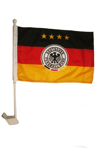 "GERMANY 4 STARS 12"" X 18"" INCHES DEUTSCHER FUSSBALL - BUND FLAG HEAVY DUTY WITH STICK CAR FLAG .. NEW AND IN A PACKAGE"