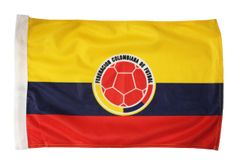 "Colombia Country Flag & Federacion Colombiana De Futbol Logo Heavy Duty Car Flag 12""X 18"" without stick"