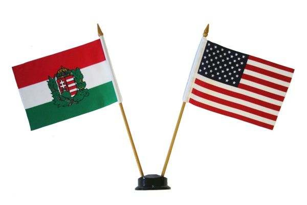 """HUNGARY & USA SMALL 4"""" X 6"""" INCHES MINI DOUBLE COUNTRY STICK FLAG BANNER ON A 10 INCHES PLASTIC POLE .. NEW AND IN A PACKAGE"""