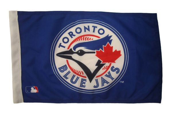"TORONTO BLUE JAYS 12"" X 18"" INCHES WITH SLEEVE WITHOUT STICK CAR FLAG .. NEW AND IN A PACKAGE"