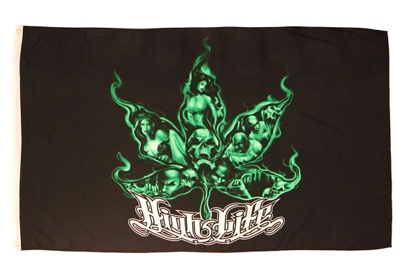 High Life Green Black Marijuana Leaf 92 X 152 Cm Picture Flag Banner .. High Quality .. New