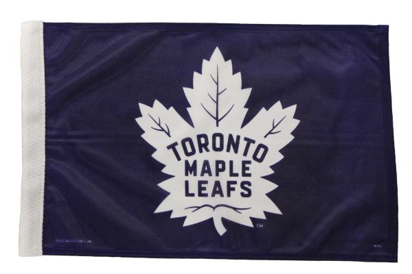 "- NEW - TORONTO MAPLE LEAFS 12"" X 18"" INCHES NHL HOCKEY LOGO HEAVY DUTY WITH SLEEVE WITHOUT STICK CAR FLAG .."