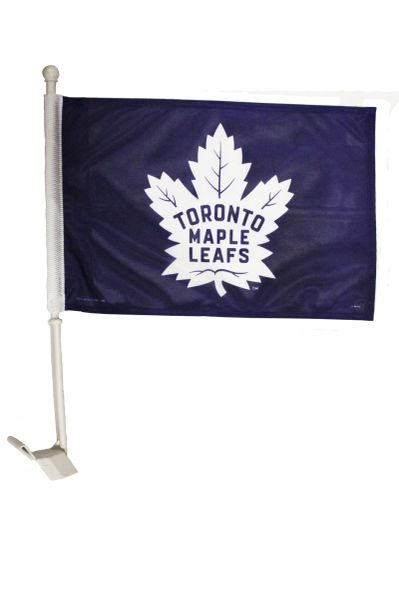"""- NEW - TORONTO MAPLE LEAFS 12"""" X 18"""" INCHES NHL HOCKEY LOGO HEAVY DUTY WITH STICK CAR FLAG .. NEW AND IN A PACKAGE"""