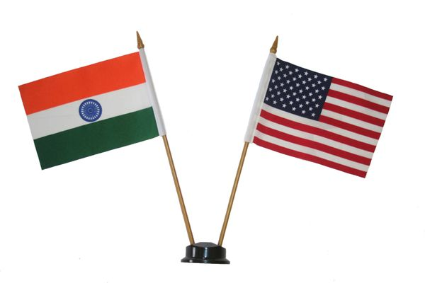 "INDIA & USA SMALL 4"" X 6"" INCHES MINI DOUBLE COUNTRY STICK FLAG BANNER ON A 10 INCHES PLASTIC POLE .. NEW AND IN A PACKAGE"