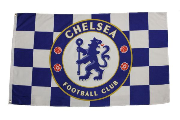 CHELSEA - WHITE AND BLUE WITH CLUB LOGO 3 X 5 FEET FLAG BANNER.. NEW