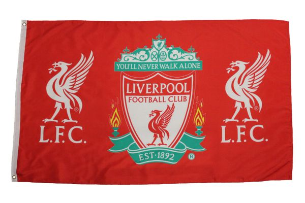 LIVERPOOL - RED WITH CLUB LOGO 3 X 5 FEET FLAG... NEW