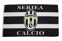 JUVENTUS - BLACK AND WHITE WITH CLUB LOGO 3 X 5 FEET FLAG... NEW