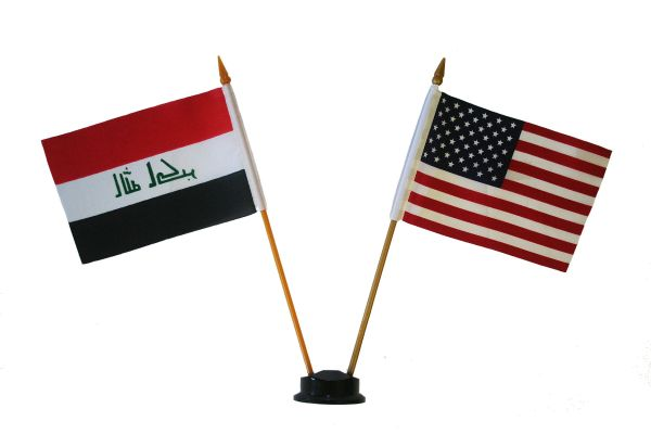 "IRAQ & USA SMALL 4"" X 6"" INCHES MINI DOUBLE COUNTRY STICK FLAG BANNER ON A 10 INCHES PLASTIC POLE .. NEW AND IN A PACKAGE"