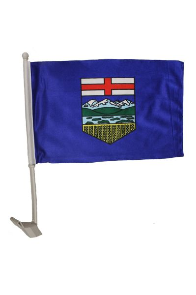 ALBERTA - CANADA PROVINCIAL HEAVY DUTY CAR FLAG 12' X 18' INCH SLEEVE STICK