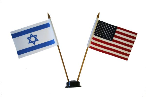 "ISRAEL & USA SMALL 4"" X 6"" INCHES MINI DOUBLE COUNTRY STICK FLAG BANNER ON A 10 INCHES PLASTIC POLE .. NEW AND IN A PACKAGE"
