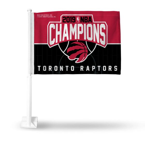 TORONTO RAPTORS 2019 NBA CHAMPIONS Licensed HEAVY DUTY WITH CAR STICK FLAGS 2019 NBA CHAMPIONS Licensed HEAVY DUTY WITH CAR STICK FLAG
