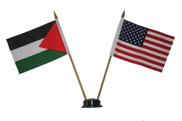 "PALESTINE & USA SMALL 4"" X 6"" INCHES MINI DOUBLE COUNTRY STICK FLAG BANNER ON A 10 INCHES PLASTIC POLE .. NEW AND IN A PACKAGE"