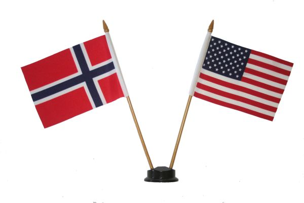 """NORWAY & USA SMALL 4"""" X 6"""" INCHES MINI DOUBLE COUNTRY STICK FLAG BANNER ON A 10 INCHES PLASTIC POLE .. NEW AND IN A PACKAGE"""