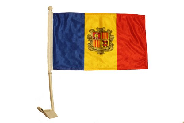 """ANDORRA Country 12"""" X 18"""" Inch CAR FLAG BANNER"""