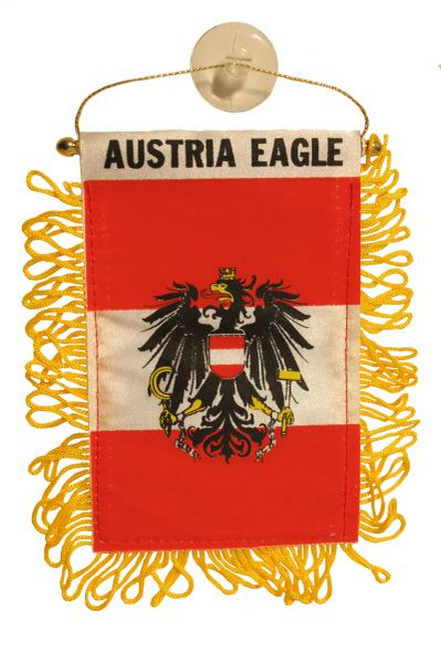 """AUSTRIA EAGLE Country Flag 4"""" x 6"""" Inch Mini BANNER W / Brass Staff & Suction"""