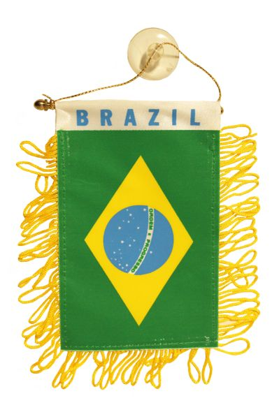 """BRAZIL Country Flag 4"""" x 6"""" Inch Mini BANNER W / Brass Staff & Suction"""