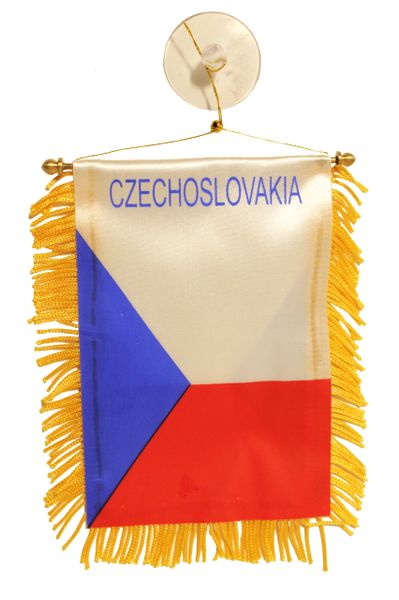 "CZECHOSLOVAKIA Country Flag 4"" x 6"" Inch Mini BANNER W / Brass Staff & Suction"