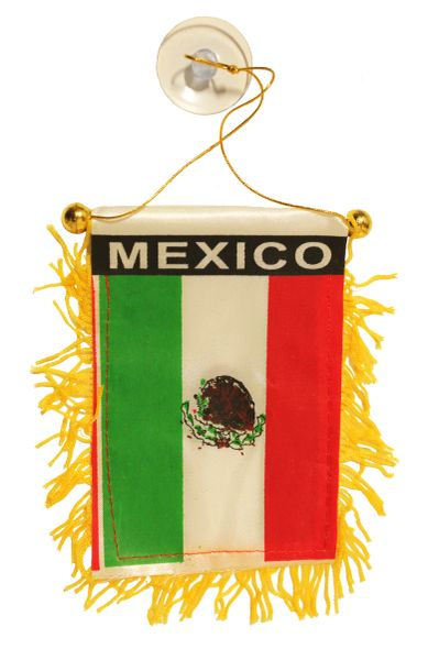 """MEXICO Country Flag 4"""" x 6"""" Inch Mini BANNER W / Brass Staff & Suction"""