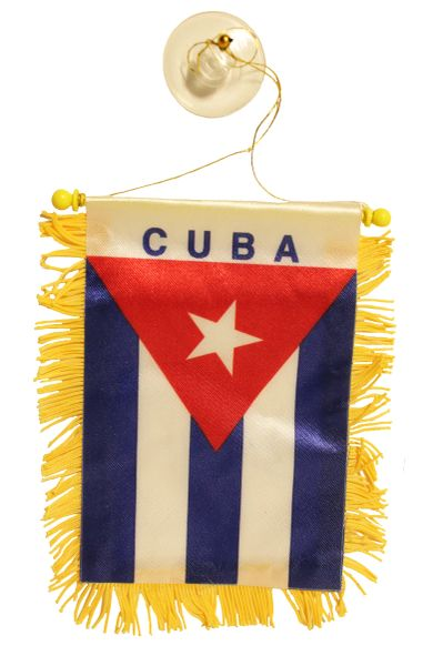 """CUBA Country Flag 4"""" x 6"""" Inch Mini BANNER W / Brass Staff & Suction"""