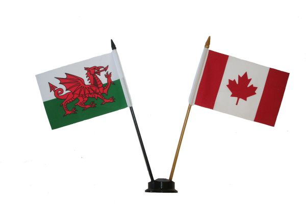 "WALES & CANADA SMALL 4"" X 6"" INCHES MINI DOUBLE COUNTRY STICK FLAG BANNER ON A 10 INCHES PLASTIC POLE .. NEW AND IN A PACKAGE"