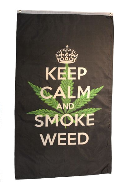 KEEP CALM AND SMOKE WEED Large 5' X 3' Feet BANNER FLAG