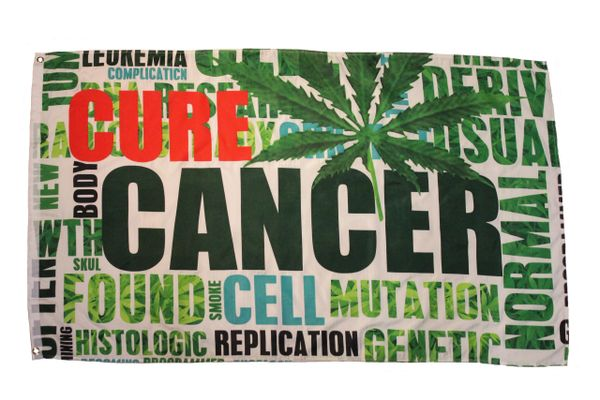 CURE CANCER BY WEED Large 3' X 5' Feet FLAG BANNER