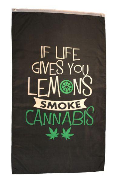 IF LIFE GIVES YOU LEMONS SMOKE CANNABIS Large 5' X 3' Feet BANNER FLAG