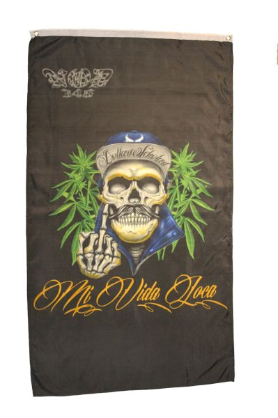 MI VIDA LOCA Large 5' X 3' Feet BANNER FLAG
