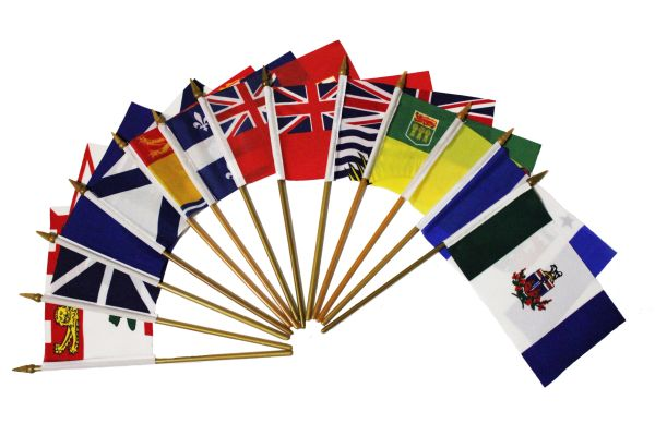 """CANADA - Set Of 13 Provincial & Territory 4"""" X 6"""" Inch Mini STICK FLAGS With 10"""" Inch Plastic Pole"""