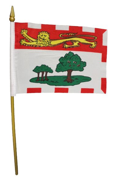 "PRINCE EDWARD ISLAND 4"" X 6"" INCHES MINI CANADIAN PROVINCE STICK FLAG BANNER ON A 10 INCHES PLASTIC POLE .. NEW"