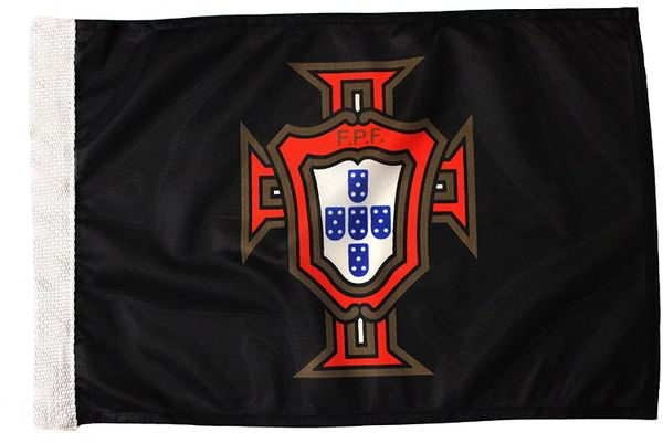 """PORTUGAL Black FPF Logo 12"""" X 18"""" Inch CAR FLAG BANNER Without Pole"""