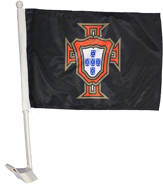 "PORTUGAL Black FPF Logo 12"" X 18"" Inch CAR FLAG BANNER"
