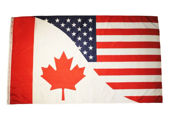 USA / CANADA Combo Curved Line Large 3' x 5' Feet FLAG BANNER.