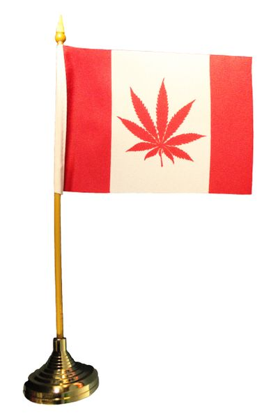 """CANADA Red MARIJUANA LEAF 4"""" X 6"""" Inch Mini STICK FLAG BANNER With GOLD STAND On A 10 Inch PLASTIC POLE"""
