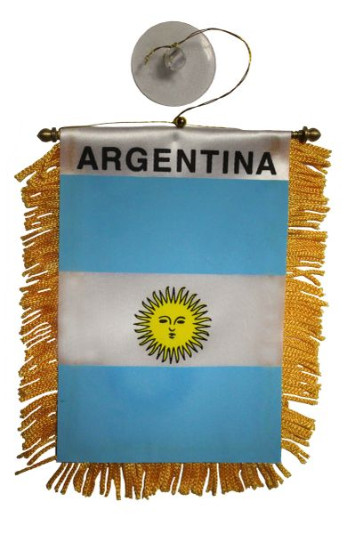 """ARGENTINA Country Flag 4"""" x 6"""" Inch Mini BANNER W / Brass Staff & Suction"""