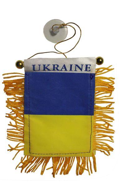 "UKRAINE Country Flag 4"" x 6"" Inch Mini BANNER W / Brass Staff & Suction"