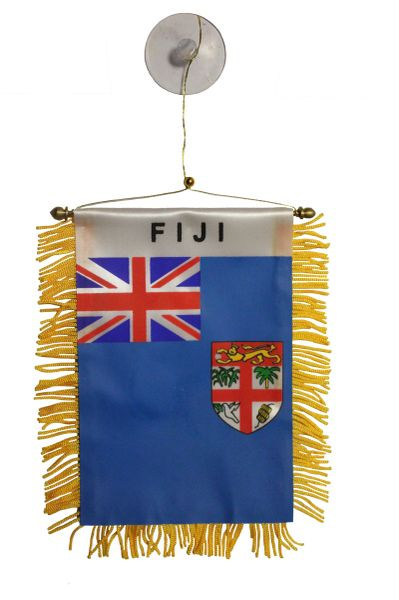 "FIJI Country Flag 4"" x 6"" Inch Mini BANNER W / Brass Staff & Suction"