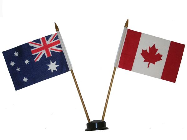 "AUSTRALIA & CANADA SMALL 4"" X 6"" INCHES MINI DOUBLE COUNTRY STICK FLAG BANNER ON A 10 INCHES PLASTIC POLE .. NEW AND IN A PACKAGE"