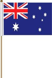 "AUSTRALIA LARGE 12"" X 18"" INCHES COUNTRY STICK FLAG ON 2 FOOT WOODEN STICK .. NEW AND IN A PACKAGE"
