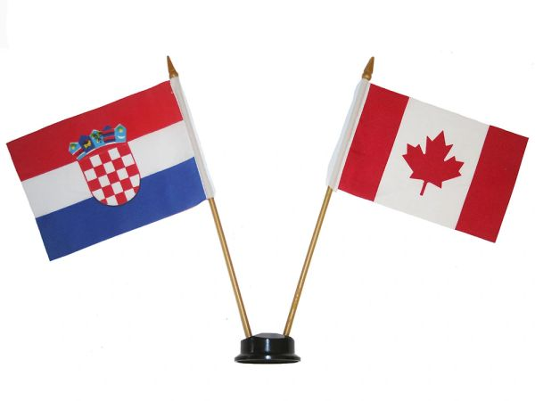 "CROATIA & CANADA SMALL 4"" X 6"" INCHES MINI DOUBLE COUNTRY STICK FLAG BANNER ON A 10 INCHES PLASTIC POLE .. NEW AND IN A PACKAGE"