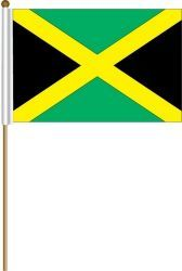 "JAMAICA LARGE 12"" X 18"" INCHES COUNTRY STICK FLAG ON 2 FOOT WOODEN STICK .. NEW AND IN A PACKAGE"