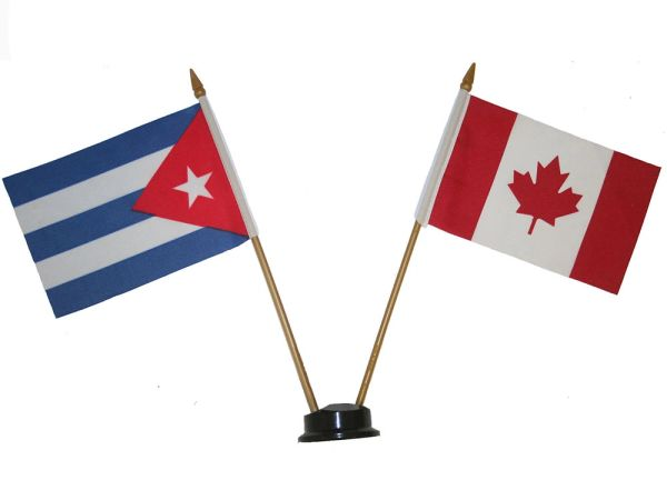 "CUBA & CANADA SMALL 4"" X 6"" INCHES MINI DOUBLE COUNTRY STICK FLAG BANNER ON A 10 INCHES PLASTIC POLE .. NEW AND IN A PACKAGE"