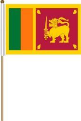 "SRI LANKA LARGE 12"" X 18"" INCHES COUNTRY STICK FLAG ON 2 FOOT WOODEN STICK .. NEW AND IN A PACKAGE"