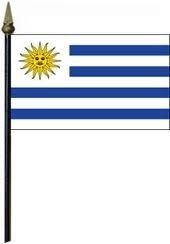 """URUGUAY LARGE 12"""" X 18"""" INCHES COUNTRY STICK FLAG ON 2 FOOT WOODEN STICK .. NEW AND IN A PACKAGE"""