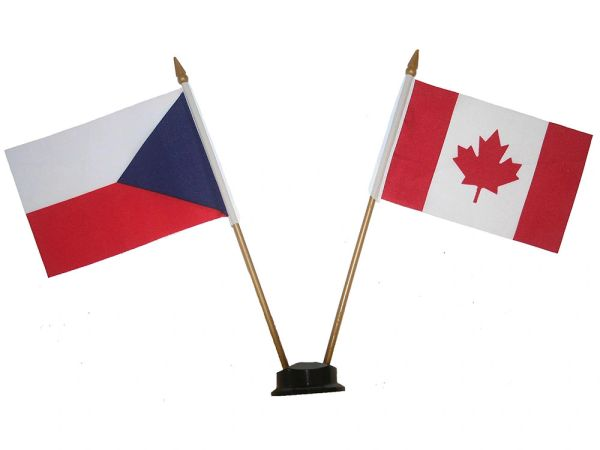 "CZECH REPUBLIC & CANADA 4"" X 6"" INCHES MINI DOUBLE COUNTRY STICK FLAG BANNER ON A 10 INCHES PLASTIC POLE .. NEW AND IN A PACKAGE"