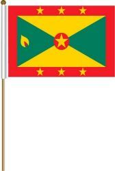 "GRENADA LARGE 12"" X 18"" INCHES COUNTRY STICK FLAG ON 2 FOOT WOODEN STICK .. NEW AND IN A PACKAGE"