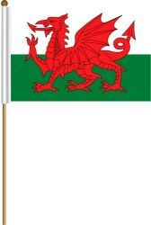 "WALES LARGE 12"" X 18"" INCHES COUNTRY STICK FLAG ON 2 FOOT WOODEN STICK .. NEW AND IN A PACKAGE"
