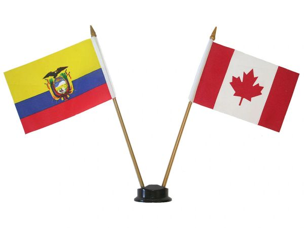 "ECUADOR & CANADA SMALL 4"" X 6"" INCHES MINI DOUBLE COUNTRY STICK FLAG BANNER ON A 10 INCHES PLASTIC POLE .. NEW AND IN A PACKAGE"