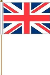 "UNITED KINGDOM LARGE 12"" X 18"" INCHES COUNTRY STICK FLAG ON 2 FOOT WOODEN STICK .. NEW AND IN A PACKAGE"