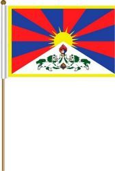 "TIBET LARGE 12"" X 18"" INCHES COUNTRY STICK FLAG ON 2 FOOT WOODEN STICK .. NEW AND IN A PACKAGE"